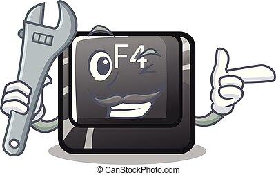 mécanicien, bouton, f4, sur, les, mascotte, informatique