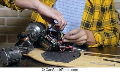 mécanicien, coussinet, skate., fin, réparation, moteur,...