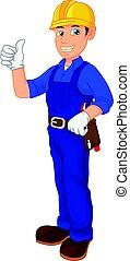 mécanicien, dessin animé, pouce haut