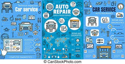 mécanicien, entretien, réparation, service, auto, voiture