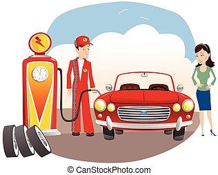mécanicien, essence, auto, remplissage