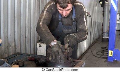 mécanicien, garage., outillage, métal, moudre, rouillé, râpe, type