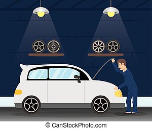 mécanicien, homme, fonctionnement, caractère, voiture