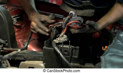 mécanicien moteur, mains, details., uninstalling, fixation, sale, voiture