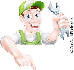 mécanicien, plombier, dessin animé, pointage, ou
