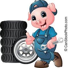mécanicien, pneu, donner, voiture, haut, cochon, pouces, tenue, clé, dessin animé