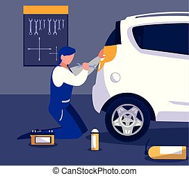 mécanicien voiture, atelier, fonctionnement, entretien