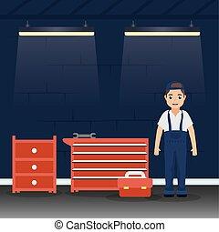 mécanique, atelier, homme, fonctionnement, mécanicien