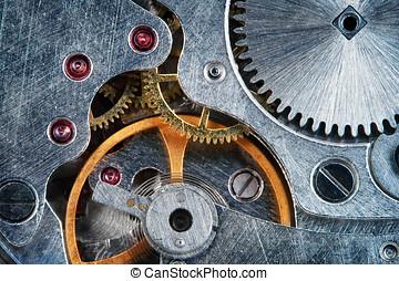 mécanique, bijou, montre, rouage horloge, super, macro