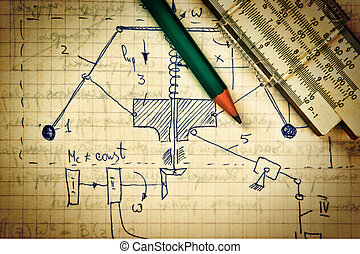 mécanique, crayon, vieux, règle, diapo, calculs, page