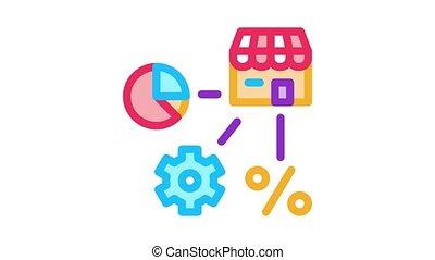 mécanique, engrenage, animation, cent, infographic, icône, franchise