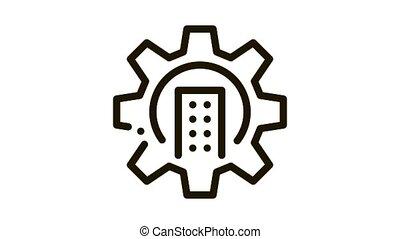 mécanique, engrenage, animation, emmagasiner icône, intelligent