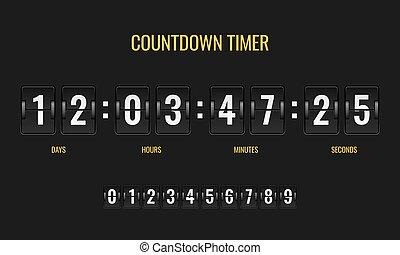 mécanique, information, horloge, timer., compteur, montre, nombre, scoreboard, compte rebours, mètre, gabarit, numérique, dénombrement, jour, bas