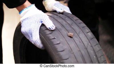 mécanique, roue, pneu, éruption, auto, réparation