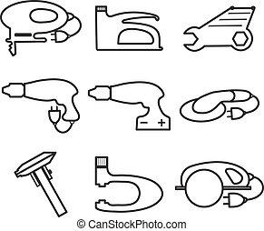 mécanique, style., moderne, icônes, isolé, illustration, arrière-plan., vecteur, logo, blanc, élément, outils, ligne