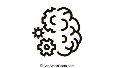 mécanique, travail, animation, cerveau, icône, engrenages