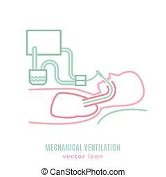 mécanique, ventilation, poumon, icône