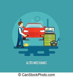 mécaniquede l'auto, plat