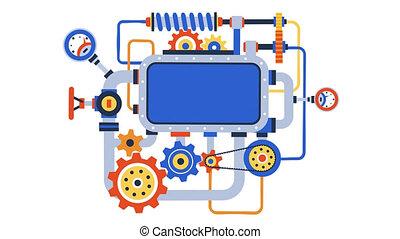 mécanisme, complexe, résumé, roues, engrenage