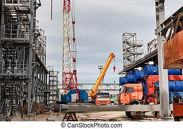 mécanismes, grues, localisé, construction, levage, site