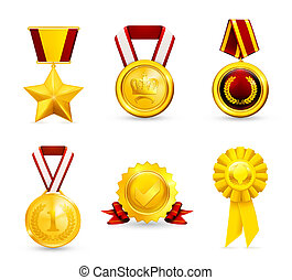 médaille, 10eps, ensemble, or