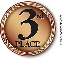 médaille, 3ème, illustration, vecteur, endroit, bronze