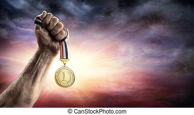 médaille, -, endroit, main, premier, victoire, concept