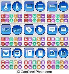 médaille, lan, ensemble, bulle, aimer, graph., douille, lit, grand, vecteur, cahier, bavarder, multi-coloré, étiquette, ordinateur portable, buttons.