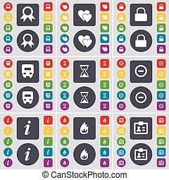 médaille, moins, ensemble, sablier, coloré, plat, coeur, grand, brûler, serrure, symbole., boutons, vecteur, contact, voiture, icône, ton, information, design.