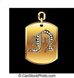 médaille, or, diamants, n