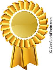 médaille, or, récompense, rosette
