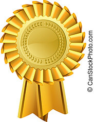 médaille or, rosette, récompense