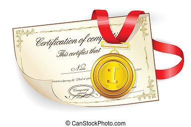 médaille, sur, certificat