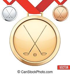 médaille, symbole, golf, intérieur, or