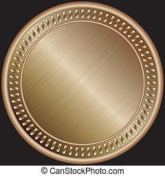 médaille, vecteur, bronze