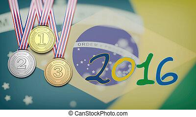 médailles, contre, de, drapeau brésil, et, 2016, année