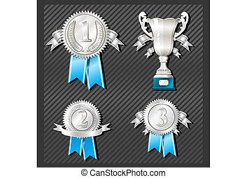 médailles, tasse