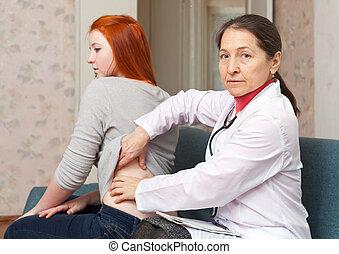 médecin, derrière, toucher, patient, mûrir