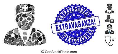 médecin, extravaganza!, timbre, mosaïque, icône, textured