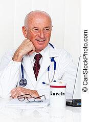 médecin, pratique, stéthoscope, laptop.