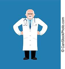 médecin, vecteur, emoji., mal, illustration, docteur, angry.