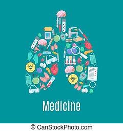 médecine, affiche, forme, poumons, orgue