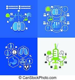 médecine, autocollant, infographic