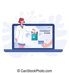 médecine, bannière, screen., toile, pharmacie, ligne, ...