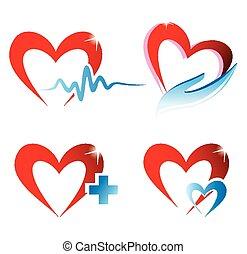 médecine, cœurs, ensemble, icônes concept