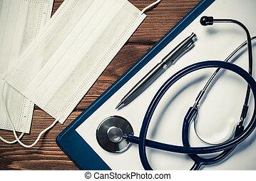 médecine, choses, bureau, docteur