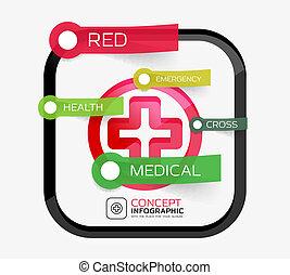 médecine, concept, croix, vecteur, infographic