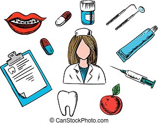médecine, dentaire, art dentaire, icônes