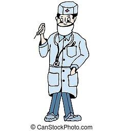 médecine, dessin animé, dessin, docteur