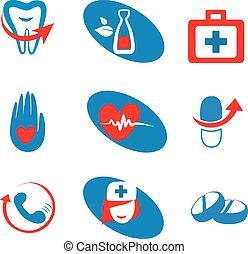 médecine, ensemble, icônes